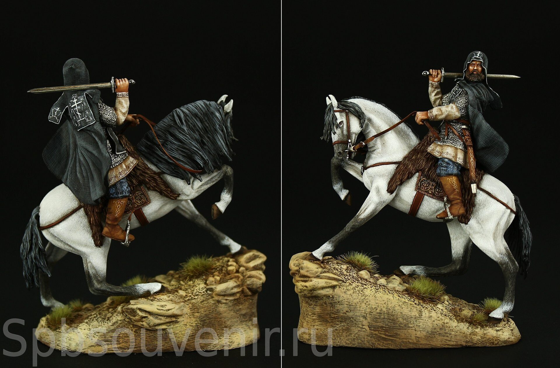 Tin Soldier Russian Knight Collectible Warrior 54mm Monk Alexander Peresvet