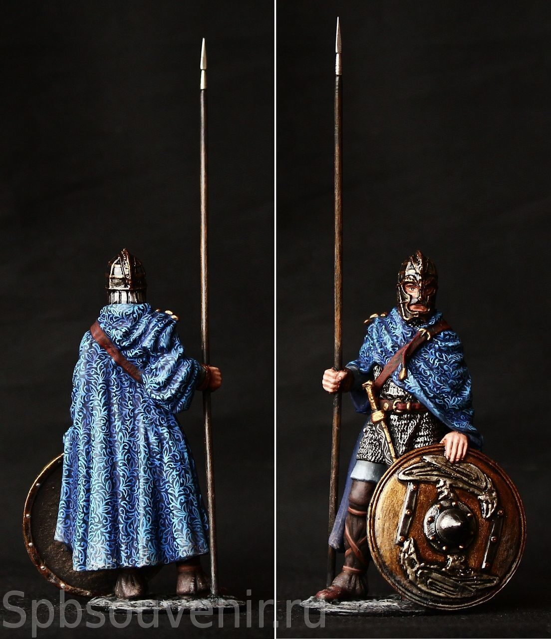 Tin soldier VII in AD 54 mm figure Anglo-Saxon warrior with a spear